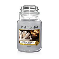 Candele Profumate Yankee Candle color grigio  Crackling Wood Fire Large Jar online - Prezzo:   29.90 €