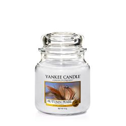 Candele profumate Yankee Candle color bianco  Autumn Pearl Medium Jar online - Prezzo:   24.90 €