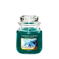Candele profumate Yankee Candle color blu  Icy Blue Spruce Medium Jar online - Prezzo:   24.90 €