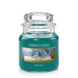 Candele profumate Yankee Candle color blu  Icy Blue Spruce Small Jar online - Prezzo:   8.33 €