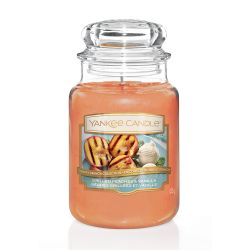 Candele profumate Yankee Candle color arancione  Grilled Peaches & Vanilla Large Jar online - Prezzo:   29.90 €