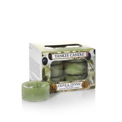 Candele profumate Yankee Candle color verde  Olive & Thyme Tea Light online - Prezzo:   9.95 €